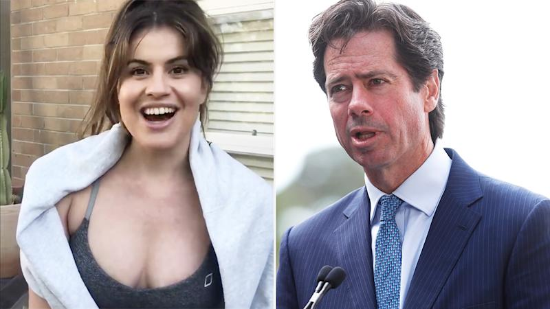A 50-50 split image shows comedian Elouise Eftos on the left and AFL CEO Gillon McLachlan on the right.