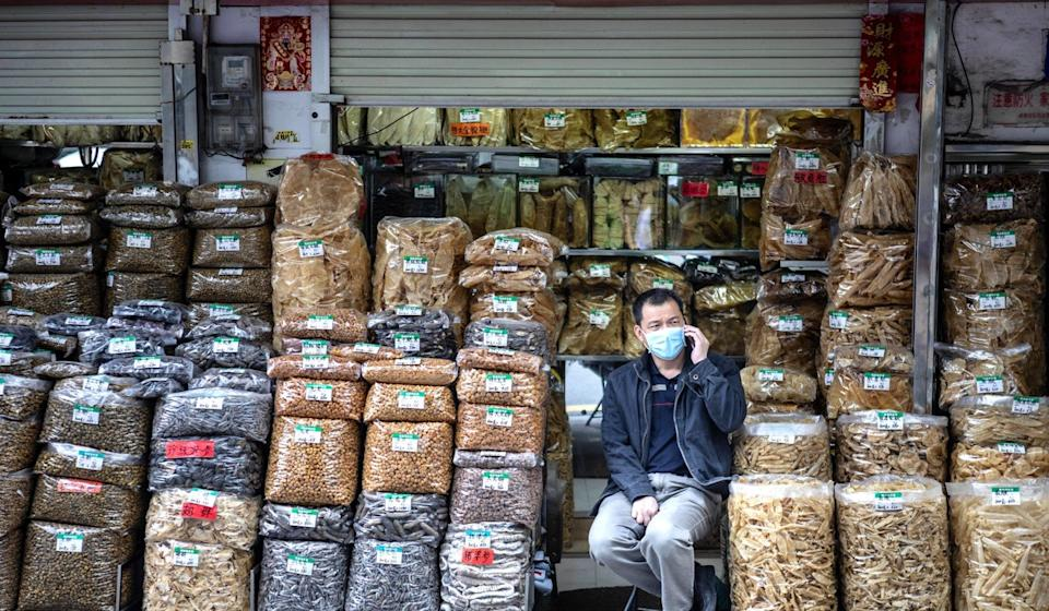 Traditional Chinese medicine supplies on sale in Guangzhou. Photo: EPA-EFE