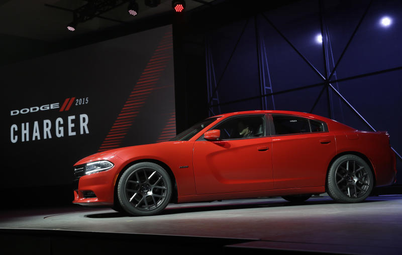 The 2015 Dodge Charger is introduced at the New York International Auto Show in New York, Thursday, April 17, 2014. (AP Photo/Seth Wenig)