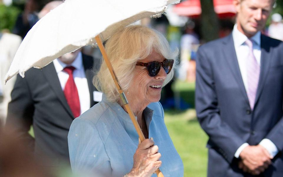 The Duchess of Cornwall, keeping out of the sun - David Rose/Daily Telegraph/PA Wire