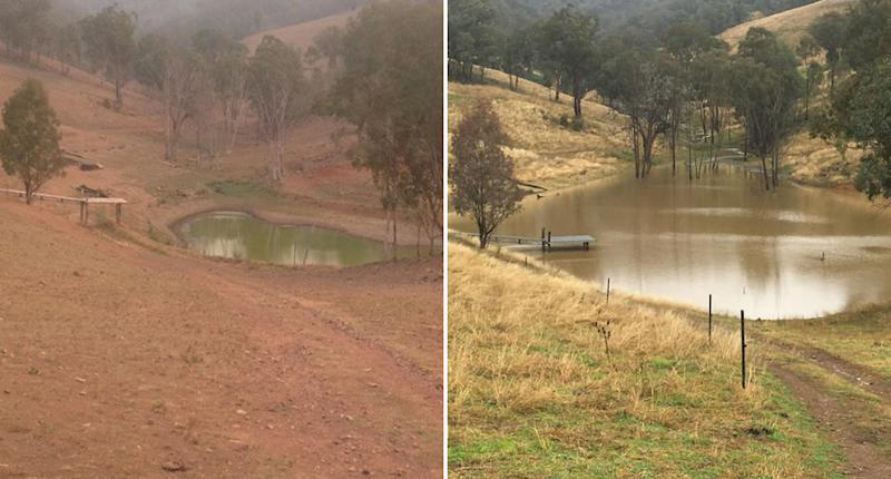A dam in Orgunbil, NSW is pictured near empty in January and filled up in July after rainfall.
