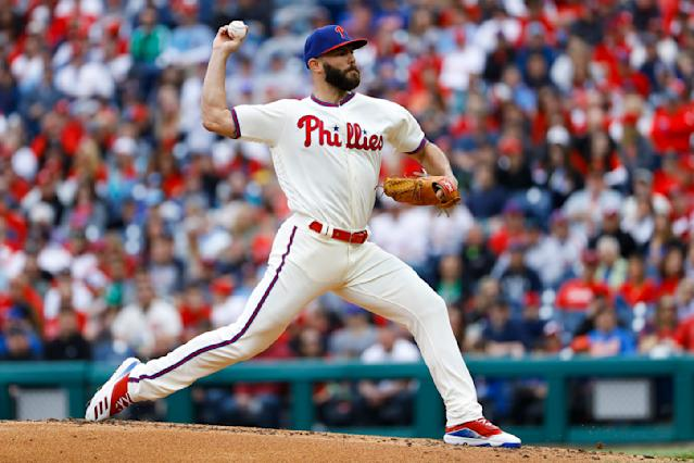 Philadelphia Phillies' Jake Arrieta pitches during the second inning of a baseball game against the New York Mets, Wednesday, April 17, 2019, in Philadelphia. (AP Photo/Matt Slocum)
