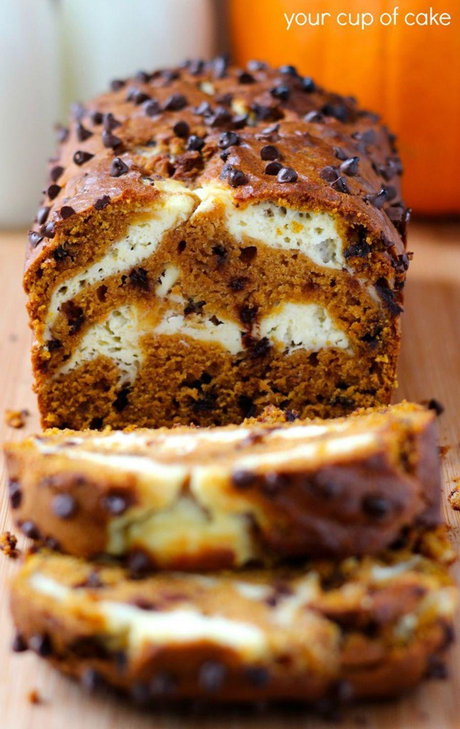 """<p>Chocolate chips are called for in the batter, but an extra sprinkling on top can't hurt, either.<br></p><p><strong>Get the recipe at <a href=""""http://www.yourcupofcake.com/2013/11/pumpkin-cream-cheese-bread-and-muffins.html"""" rel=""""nofollow noopener"""" target=""""_blank"""" data-ylk=""""slk:Your Cup of Cake"""" class=""""link rapid-noclick-resp"""">Your Cup of Cake</a>.</strong> </p>"""
