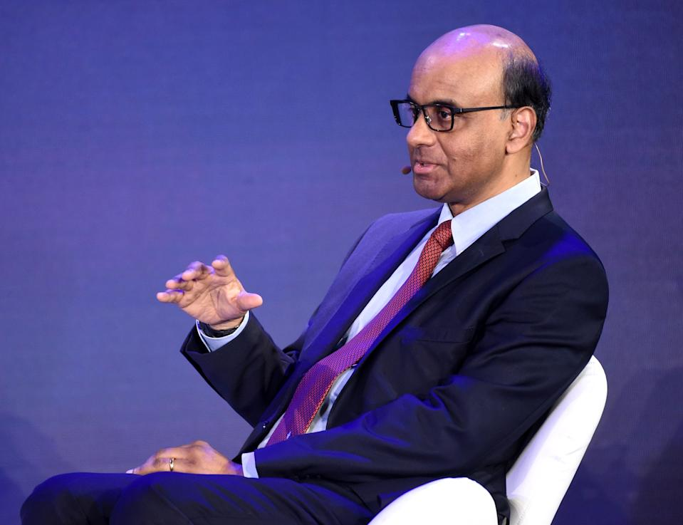 Singapore's Deputy Prime Minister Tharman Shanmugaratnam speaks at a panel discussion during the Bloomberg New Economy Forum in Singapore on November 7, 2018. (Photo by ROSLAN RAHMAN / AFP)        (Photo credit should read ROSLAN RAHMAN/AFP via Getty Images)