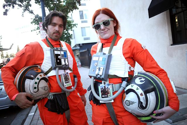 <p>Cosplayers dressed as Rebel Pilots at Comic-Con International on July 19, 2018, in San Diego. (Photo: Tommaso Boddi/Getty Images) </p>