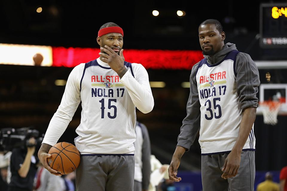 Who would have thought at the 2017 NBA All-Star Game that DeMarcus Cousins would join Kevin Durant on the Warriors? (AP)