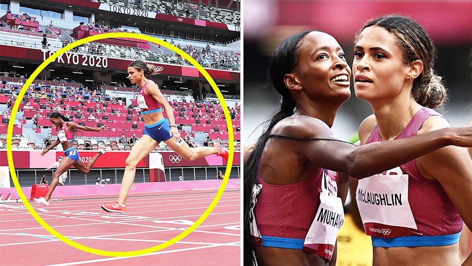 Sydney McLaughlin (pictured left) winning the women's 400m hurdles final and  American Dalilah Muhammad (pictured right) embracing McLaughlin in Tokyo. (Getty Images)