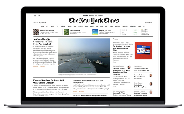 New York Times homepage displayed on a laptop