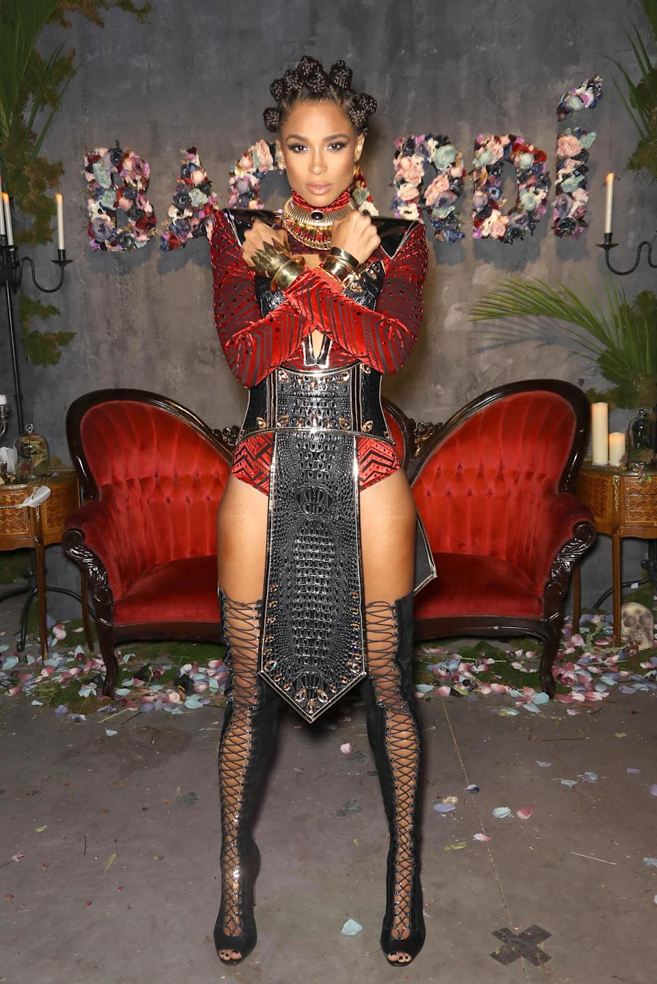 <p>Singer Ciara proved Halloween is an event she takes seriously, as she dressed as Nakia from 'Black Panther' for the Bacardi Liberate Your Spirits Halloween party. <em>[Photo: Getty]</em> </p>