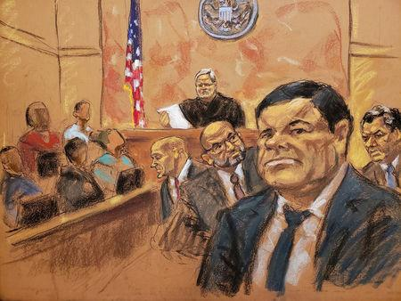 "The accused Mexican drug lord Joaquin ""El Chapo"" Guzman in Brooklyn federal court in New York"