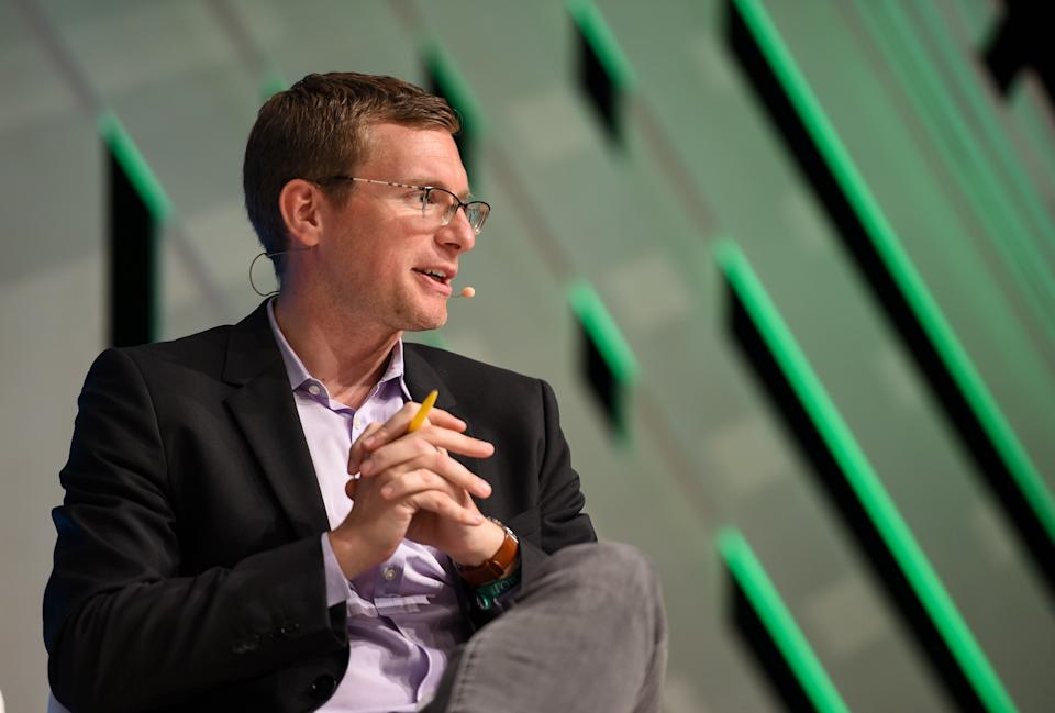LISBON , PORTUGAL - 7 November 2019; Philip Crowther, International Affiliate Reporter, Associated Press, on MoneyConf stage during the final day of Web Summit 2019 at the Altice Arena in Lisbon, Portugal. (Photo By Cody Glenn/Sportsfile for Web Summit via Getty Images)