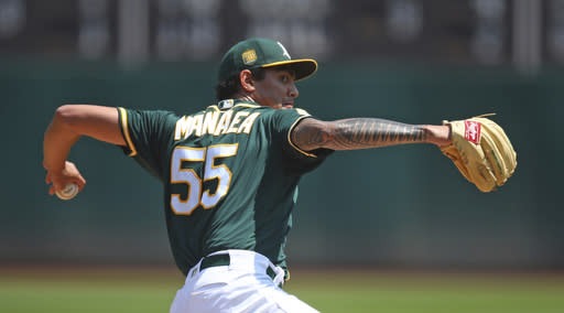 Oakland Athletics pitcher Sean Manaea works against the Houston Astros in the first inning of a baseball game Sunday, Aug. 19, 2018, in Oakland, Calif. (AP Photo/Ben Margot)