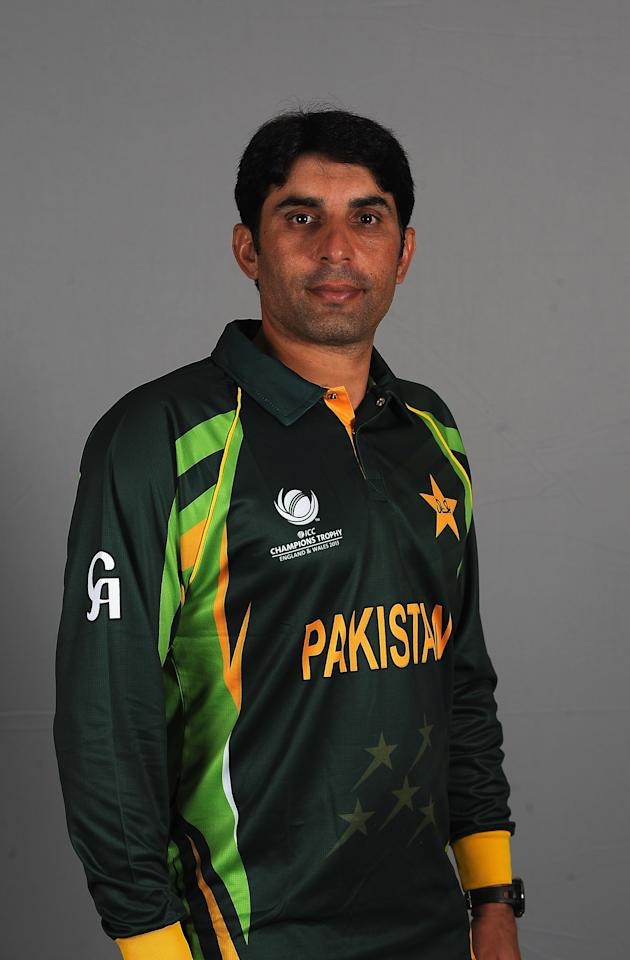 BIRMINGHAM, ENGLAND - MAY 28:  Misbah-ul-Haq of Pakistan poses during a Pakistan Portrait Session at the Hyatt Hotel on May 28, 2013 in Birmingham, England.  (Photo by Christopher Lee-ICC/ICC via Getty Images)