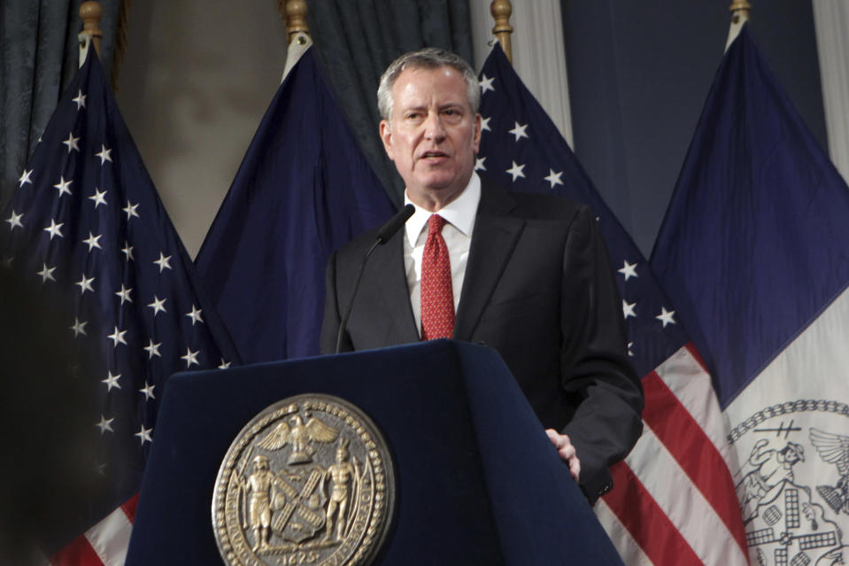 Mayor Bill De Blasio presents the Fiscal Year 2020 preliminary budget at New York City Hall on Feb. 7. (Photo: Mpi43/MediaPunch/IPX/Getty Images)