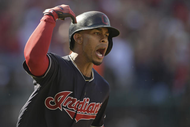 Cleveland Indians' Francisco Lindor celebrates after hitting a solo home run off Houston Astros starting pitcher Dallas Keuchel in the fifth inning during Game 3 of a baseball American League Division Series, Monday, Oct. 8, 2018, in Cleveland. (AP Photo/David Dermer)