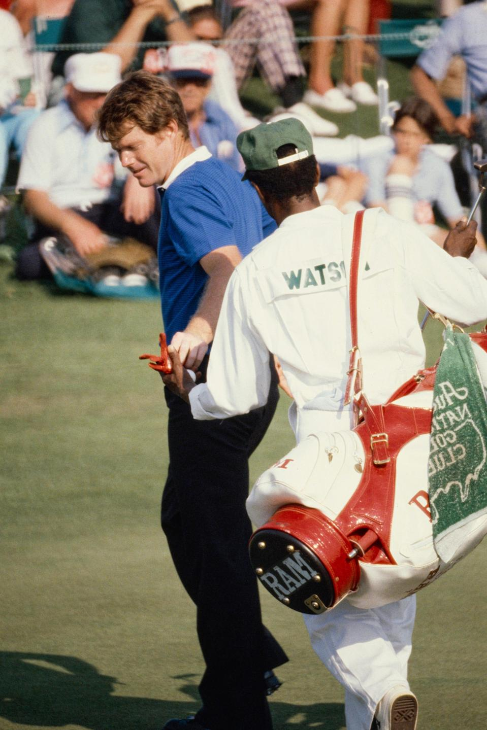 Tom Watson hands off his ball to his caddie at Augusta National on Friday, April 10, 1981.