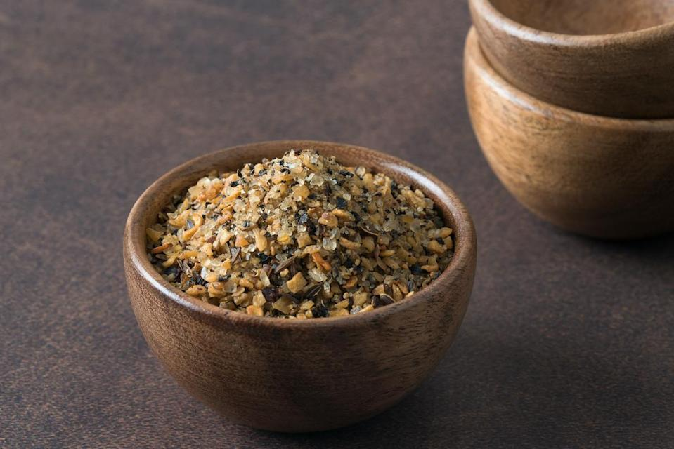 "<p>Black Angus' Garcia suggests adding your favorite spices to a mix of salt and pepper to season before cooking. Garlic and onion powders are great savory flavors in the rub, he says. And while you're in your spice drawer, <a href=""https://www.thedailymeal.com/cook/marie-kondo-spice-drawer?referrer=yahoo&category=beauty_food&include_utm=1&utm_medium=referral&utm_source=yahoo&utm_campaign=feed"" rel=""nofollow noopener"" target=""_blank"" data-ylk=""slk:channel your inner Marie Kondo"" class=""link rapid-noclick-resp"">channel your inner Marie Kondo</a> and clean out any expired or duplicate spices.</p>"