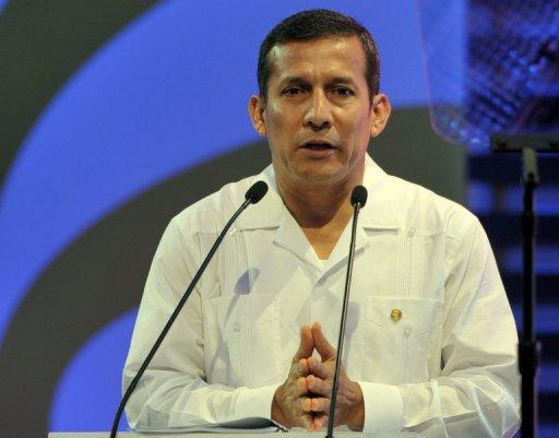 Peruvian President Ollanta Humala is pictured