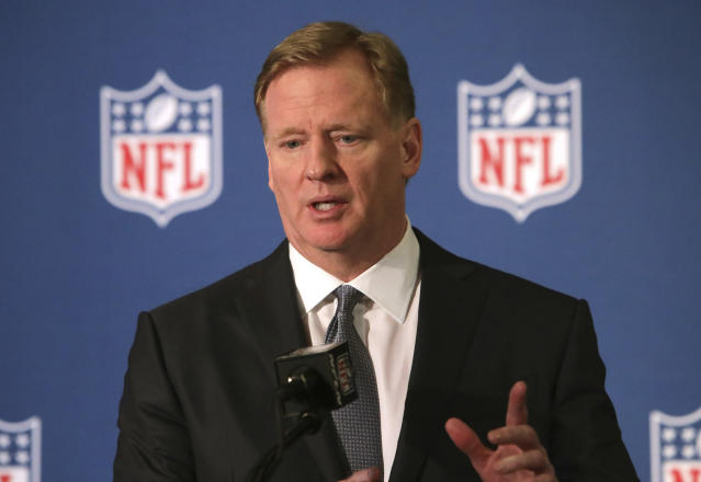 NFL commissioner Roger Goodell speaks during a news conference after the football leagues' meeting in Irving, Texas, Wednesday, Dec. 12, 2018. (AP Photo/LM Otero)