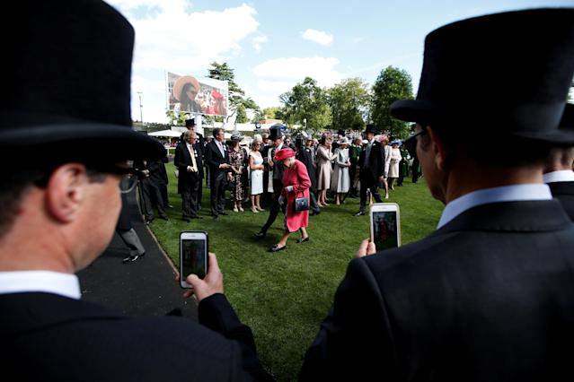 REFILE - CORRECTING TYPO Horse Racing - Royal Ascot - Ascot Racecourse, Ascot, Britain - June 21, 2018 Britain's Queen Elizabeth after presenting Frankie Dettori with the Gold Cup trophy Action Images via Reuters/Paul Childs