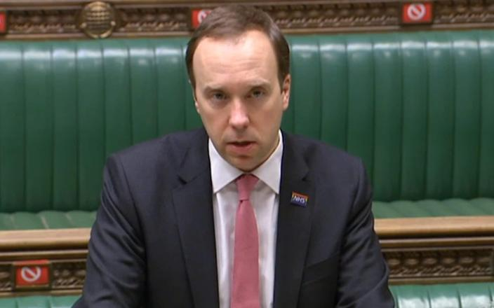 Health Secretary Matt Hancock updates MPs in the House of Commons, on the latest situation with the Coronavirus pandemic - House of Commons/PA Wire
