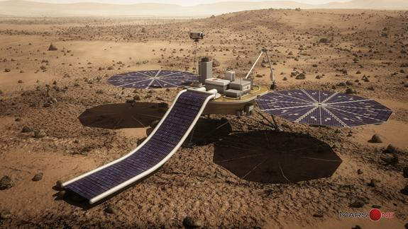 An artist's depiction of the private Mars One lander for a unmanned mission to Mars slated to launch in 2018. The design is based on NASA's Phoenix Mars lander.