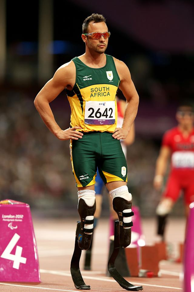 LONDON, ENGLAND - SEPTEMBER 08:  Oscar Pistorius of South Africa looks on prior to the Men's 400m T44 Final on day 10 of the London 2012 Paralympic Games at Olympic Stadium on September 8, 2012 in London, England.  (Photo by Bryn Lennon/Getty Images)
