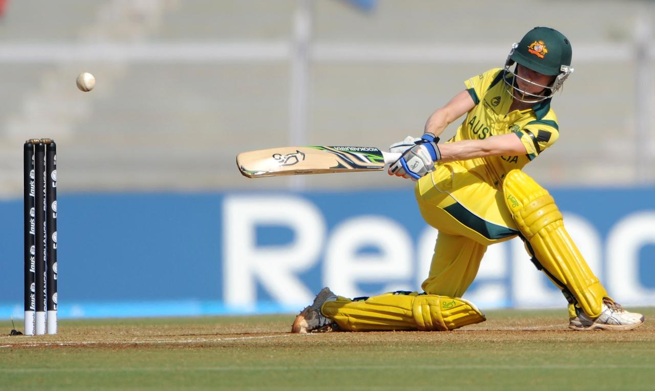 Australian cricketer Rachael Haynes plays a shot during the final match of the ICC Women's World Cup 2013 between Australia and West Indies at the Cricket Club of India's Brabourne stadium in Mumbai on February 17, 2013. AFP PHOTO/Indranil MUKHERJEE        (Photo credit should read INDRANIL MUKHERJEE/AFP/Getty Images)