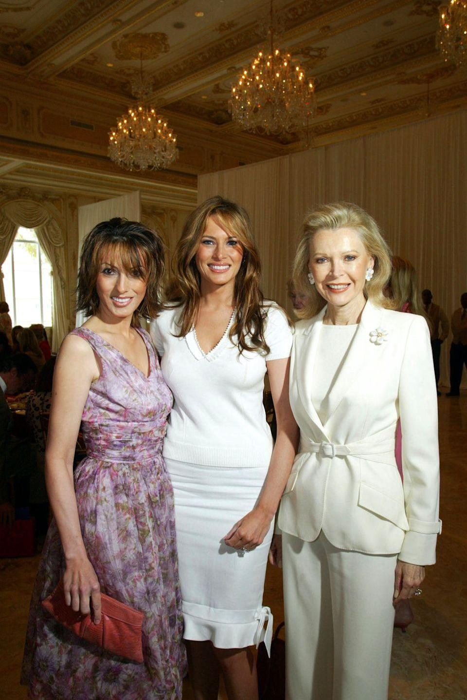 """<p><a href=""""https://www.townandcountrymag.com/society/politics/news/a9740/melania-trump-sister-ines-knauss/"""" rel=""""nofollow noopener"""" target=""""_blank"""" data-ylk=""""slk:The Knavses's first daughter, Ines"""" class=""""link rapid-noclick-resp"""">The Knavses's first daughter, Ines</a>, is about a year older than the first lady. The sisters are shown here at <a href=""""https://www.townandcountrymag.com/style/home-decor/a7144/mar-a-lago-history/"""" rel=""""nofollow noopener"""" target=""""_blank"""" data-ylk=""""slk:Mar-a-Lago"""" class=""""link rapid-noclick-resp"""">Mar-a-Lago</a> with Palm Beach philanthropist Audrey Gruss. They changed their last name from Knavs to its German form, Knauss.</p>"""