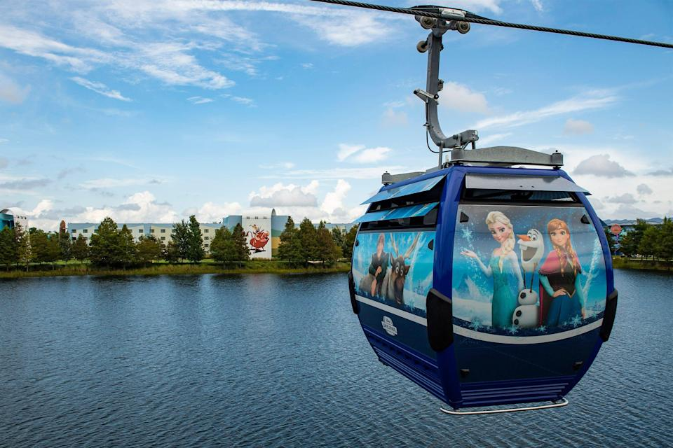 Disney Skyliner, an air gondola service connecting Disney Worlds' 30-plus hotels and resorts to its four theme parks, debuted in 2019. There are also buses,  water taxis, ferries, trams and walking trails.