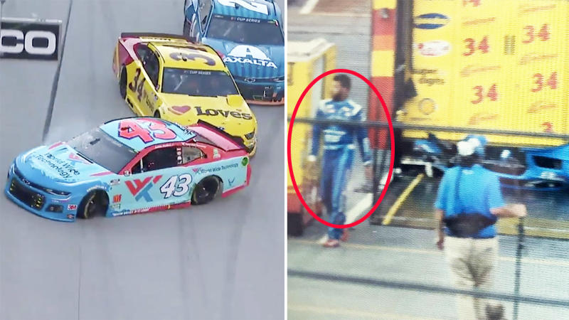 Bubba Wallace, pictured here leaving his bumper on Michael McDowell's truck.