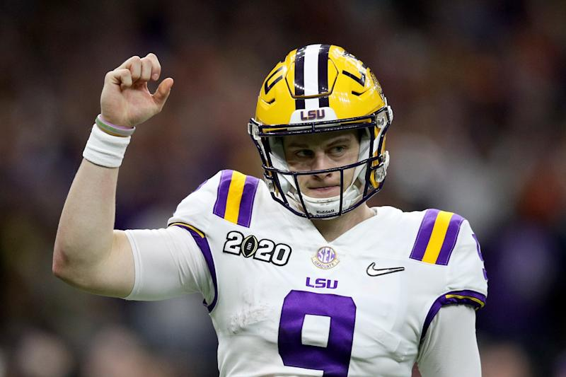 Louisiana State quarterback Joe Burrow celebrates after a touchdown against Clemson during the College Football Playoff National Championship game on Jan. 13.