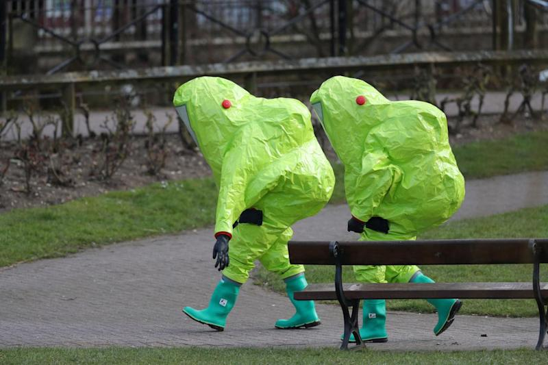 Forensic specialists outside Mr Skripal's house (Andrew Matthews/PA)