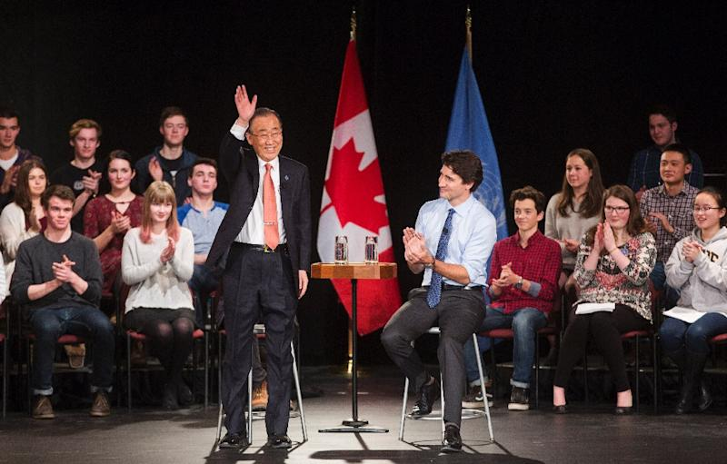 Canadian Prime Minister Justin Trudeau (R) participates in a student assembly with United Nations Secretary-General Ban Ki-moon at Glebe Collegiate Institute in Ottawa, Ontario on February 11, 2016