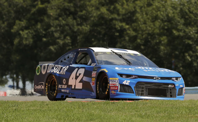 "<a class=""link rapid-noclick-resp"" href=""/nascar/sprint/drivers/3156/"" data-ylk=""slk:Kyle Larson"">Kyle Larson</a> (42) makes his way around the course during practice for a NASCAR Cup series auto race, Saturday, Aug. 4, 2018, in Watkins Glen, N.Y. (AP Photo/Julie Jacobson)"