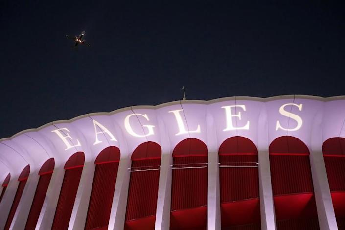 """Exterior of the Forum in Inglewood, where the Eagles performed on Sept. 12, 2018. <span class=""""copyright"""">(Luis Sinco / Los Angeles Times)</span>"""
