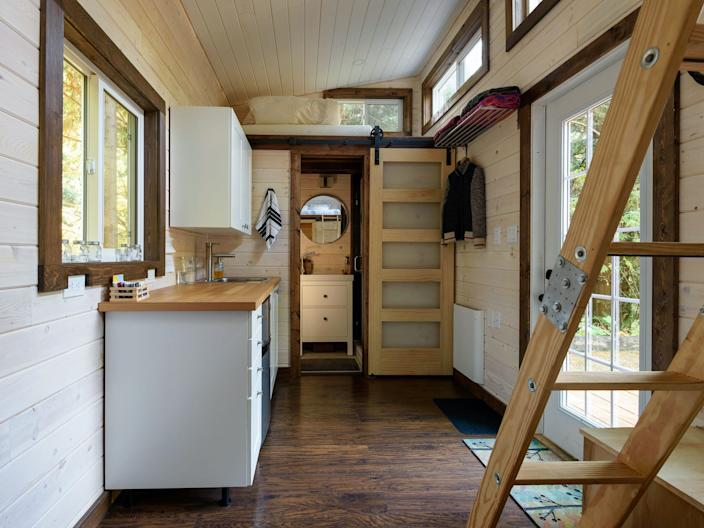 The interior of a tiny home.