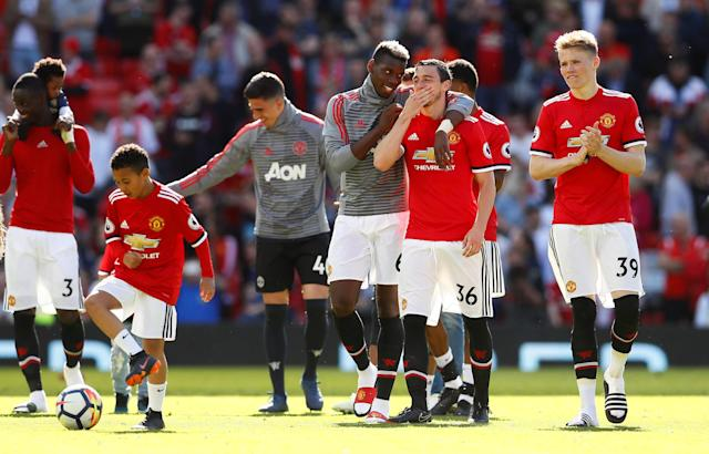 "Soccer Football - Premier League - Manchester United vs Watford - Old Trafford, Manchester, Britain - May 13, 2018 Manchester United's Eric Bailly, Paul Pogba, Matteo Darmian and Scott McTominay after the match Action Images via Reuters/Jason Cairnduff EDITORIAL USE ONLY. No use with unauthorized audio, video, data, fixture lists, club/league logos or ""live"" services. Online in-match use limited to 75 images, no video emulation. No use in betting, games or single club/league/player publications. Please contact your account representative for further details."