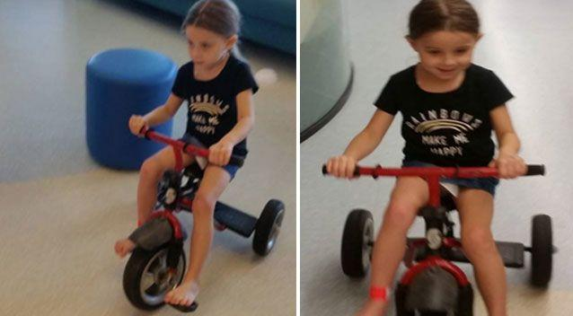 The little girl has been given a new modified bike to aid in her recovery. Photo: Supplied