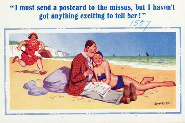 Saucy and humorous seaside postcards, funny beach pictures, retro postcards, vintage postcards