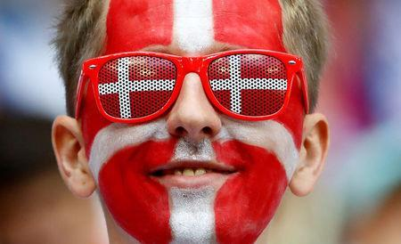 Denmark fan inside the stadium before the match. REUTERS/Michael Dalder