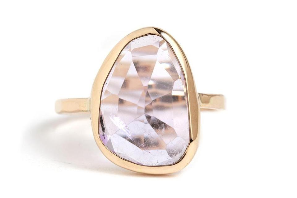"""<p>melissajoymanning.com</p><p><strong>$2050.00</strong></p><p><a href=""""https://melissajoymanning.com/collections/rings/products/freeform-amethyst-ring"""" rel=""""nofollow noopener"""" target=""""_blank"""" data-ylk=""""slk:Shop Now"""" class=""""link rapid-noclick-resp"""">Shop Now</a></p><p><a href=""""https://melissajoymanning.com/"""" rel=""""nofollow noopener"""" target=""""_blank"""" data-ylk=""""slk:Melissa Joy Manning"""" class=""""link rapid-noclick-resp"""">Melissa Joy Manning</a> champions sustainability in all of her jewelry designs, using 100% recycled metals and cruelty-free stones. Even the packaging is responsibly sourced from the fabric jewelry bags to carbon-offsetting shipping materials, and their studios in both New York and California are green-certified. </p>"""