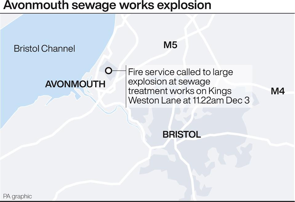 The large explosion came from a sewage treatment works near Avonmouth. (PA Graphics)