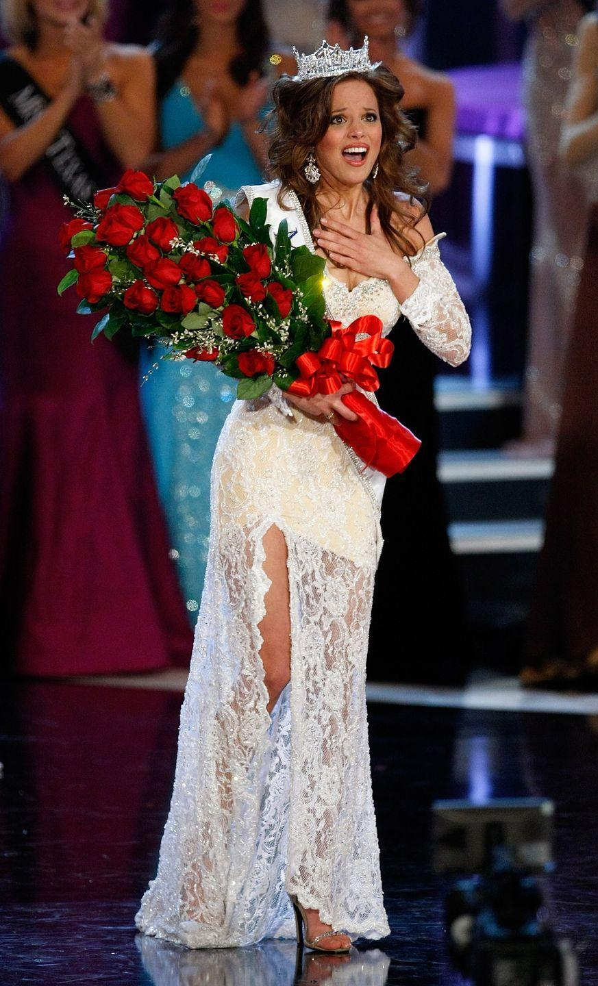 <p>Katie Stam's romantic lace evening gown was one to remember when she represented Indiana in 2009. </p>