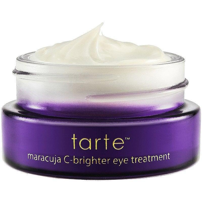 "<h3>Tarte Maracuja C-Brighter Eye Treatment<br></h3><br>Tarte's Maracuja collection has developed a cult following for good reason — and one of our favorite products of the bunch is the brightening eye cream. The maracuja fruit and vitamin C-enriched formula is firming <em>and</em> brightening. Meaning: It'll make you look awake with just a few dabs (we suggest dotting it on with your pinky for best results). And it's so light in consistency, you can apply your concealer right away — if you even feel like you need it, that is.<br><br><strong>Tarte</strong> Tarte Maracuja C Brighter Eye Treatment, $, available at <a href=""https://go.skimresources.com/?id=30283X879131&url=https%3A%2F%2Fwww.ulta.com%2Fmaracuja-c-brighter-eye-treatment%3FproductId%3DxlsImpprod4690165"" rel=""nofollow noopener"" target=""_blank"" data-ylk=""slk:Ulta"" class=""link rapid-noclick-resp"">Ulta</a>"