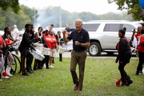 PHOTO: Former Vice President and presidential candidate Joe Biden clinches his fist as he arrives during the Democratic Polk County Steak Fry on September 21, 2019 in Des Moines, Iowa. Seventeen presidential candidates attended the Polk County Steak Fry. (Joshua Lott/Getty Images)