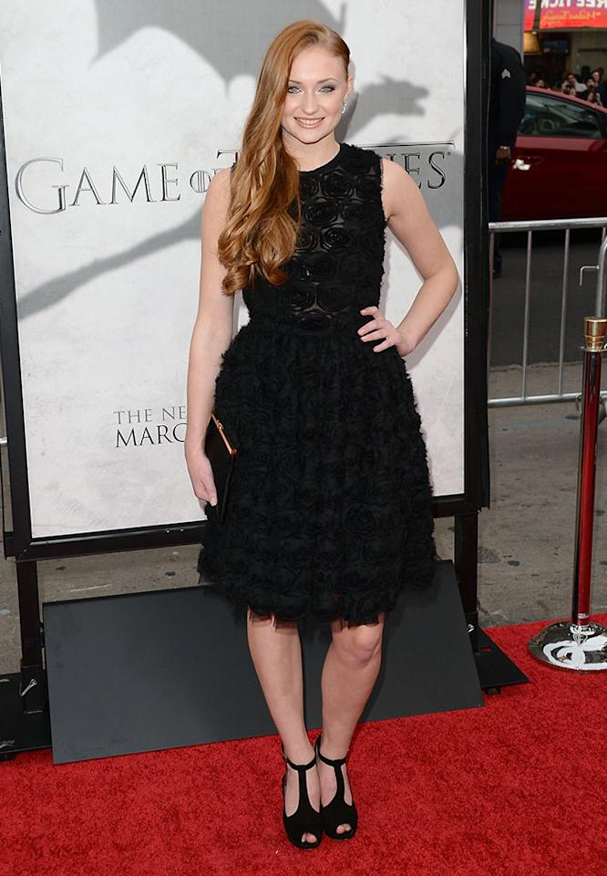 "Sophie Turner arrives at the premiere of HBO's ""Game of Thrones"" Season 3 at TCL Chinese Theatre on March 18, 2013 in Hollywood, California."