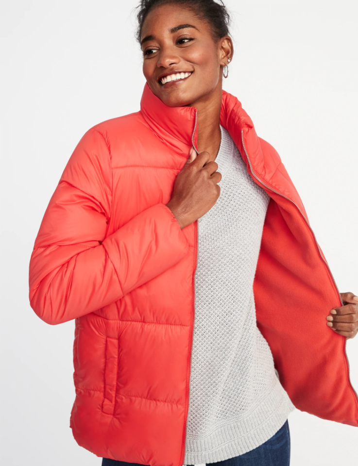 "<p>A grab-and-go style puffer jacket for all occasions. It's made of a smooth, quilted nylon shell and has a fleece interior for a fuzzy and warm feeling all day long.<br /><a rel=""nofollow"" href=""https://fave.co/2zXUGFs""><strong>Shop it:</strong></a> $30 ($60), <a rel=""nofollow"" href=""https://fave.co/2zXUGFs"">oldnavy.com</a> </p>"