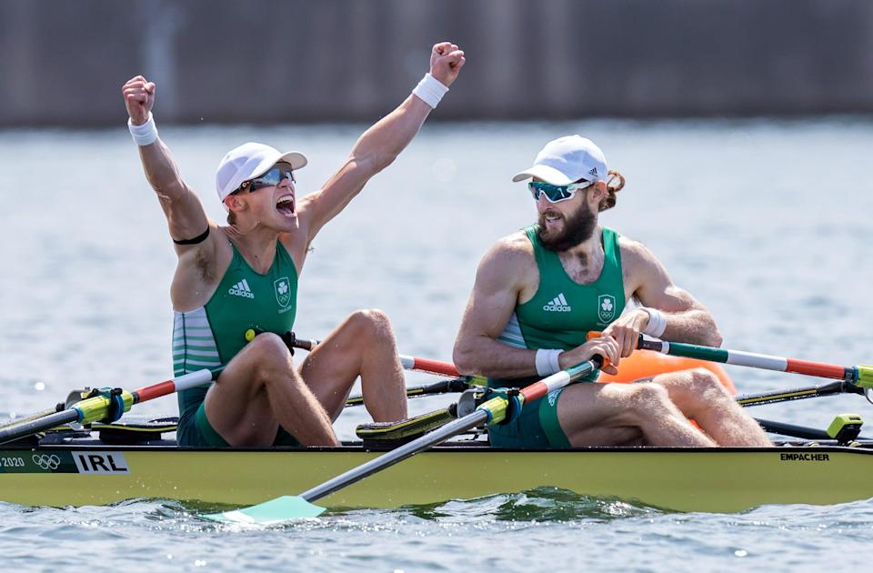 Fintan McCarthy and Paul O'Donovan celebrate victory in the lightweight men's double sculls (Danny Lawson/PA) (PA Wire)