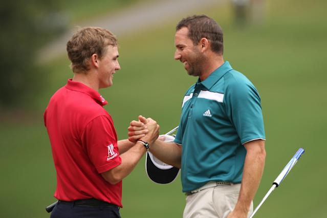 GREENSBORO, NC - AUGUST 20: Bud Cauley (L) and Sergio Garcia shake hands on the 18th green during the final round of the Wyndham Championship at Sedgefield Country Club on August 20, 2012 in Greensboro, North Carolina. (Photo by Hunter Martin/Getty Images)